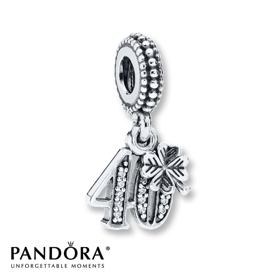 bf868da6a5c71 Pandora Dangle Charm 40 Years of Love Sterling Silver | Fabulously ...
