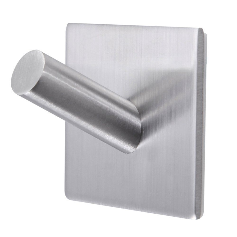 Stainless Steel Black Towel Kitchen Bath Self Adhesive Wall Hooks Hanger Rack