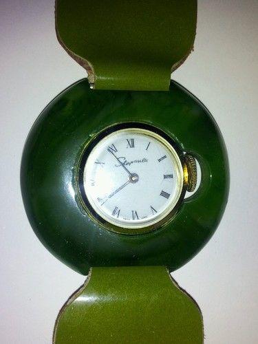Elsa Schiaparelli Green Lucite Plastic Watch Bracelet