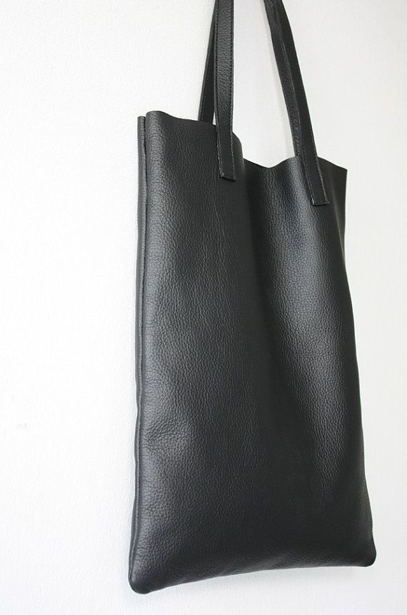 ANYA Basic Black Leather Tote Bag by MISHKAbags on Etsy   Tote Bags ... 734e92778e