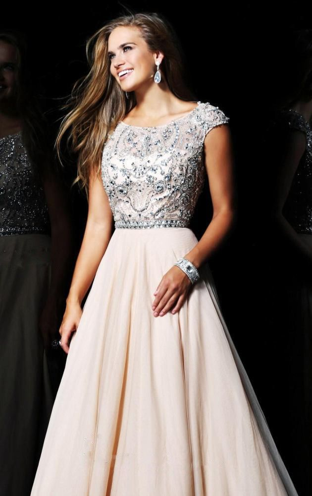 c65b391e55 A-line Chiffon Scoop Natural Waist Floor-Length Zipper Cap Sleeve Appliques  Beading Prom Dress picture 1