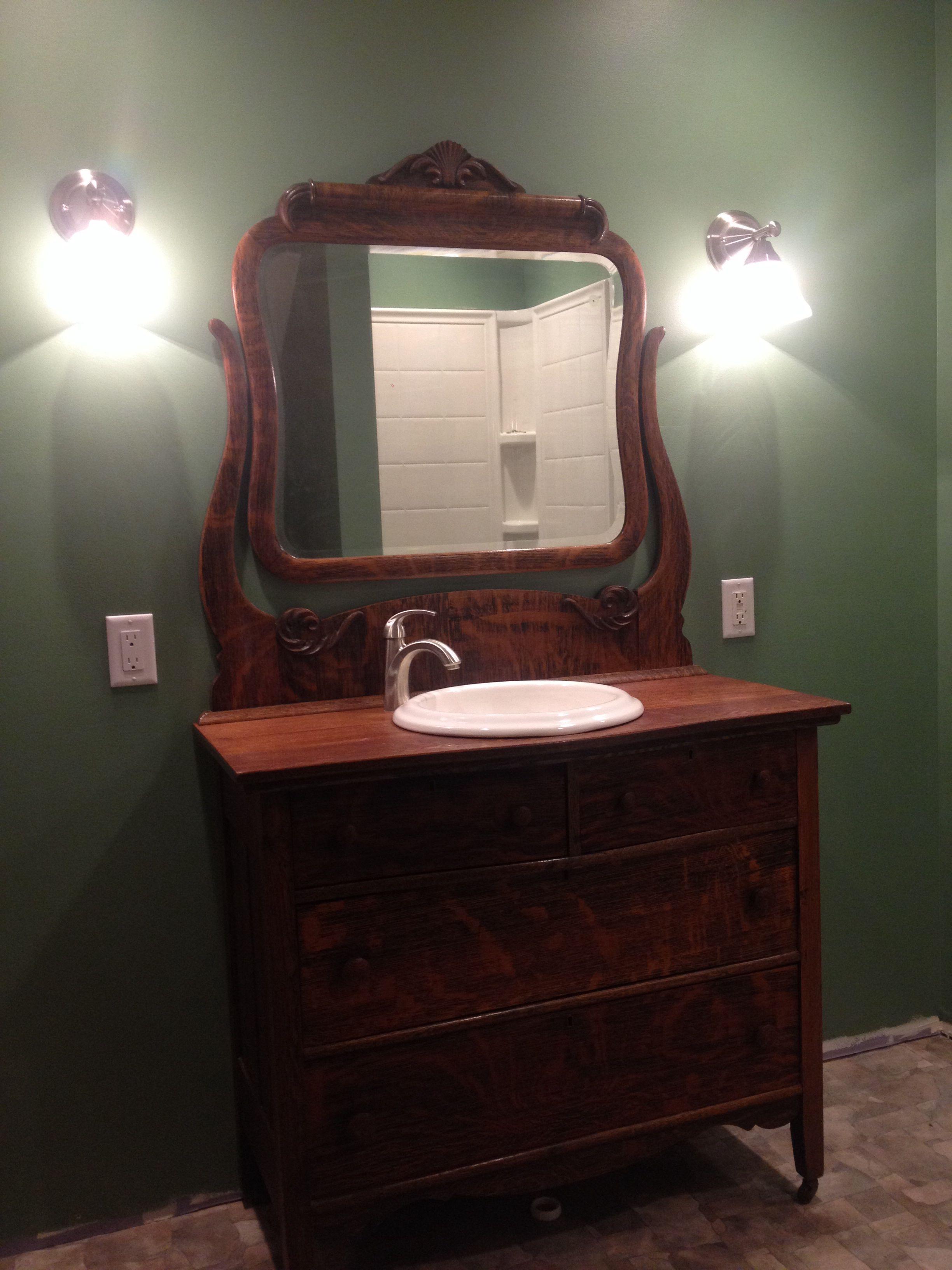 Antique Dresser Made Into Bathroom Vanity Antique