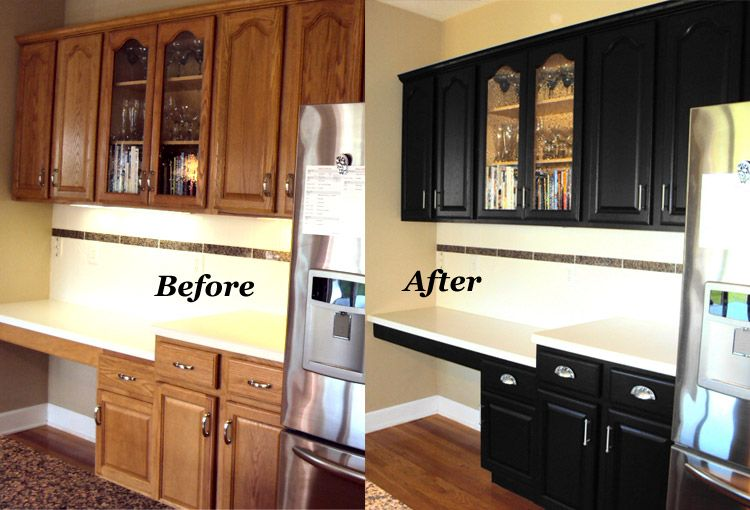 Before After Refinished Cabinets In Rich Black At A Fraction Of