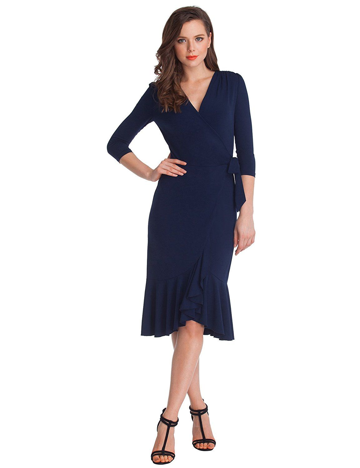 Grapent Women's Navy 34 Sleeve Ruffle Surplice Neckline