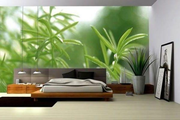 Pflanzen Schlafzimmer ~ Fototapete grüne pflanzen schlafzimmer wandgestaltung tapeten