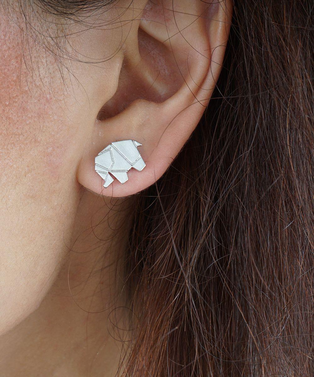 Photo of Elephant Stud Earrings, Origami Elephant Stud Earrings, Cute Animal Studs,