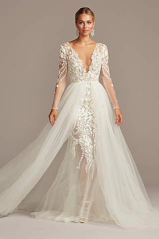 View Long Sleeves Long Wedding Dress At David S Bridal In 2020 Wedding Dresses For Girls Wedding Dress Long Sleeve Western Style Wedding Dress