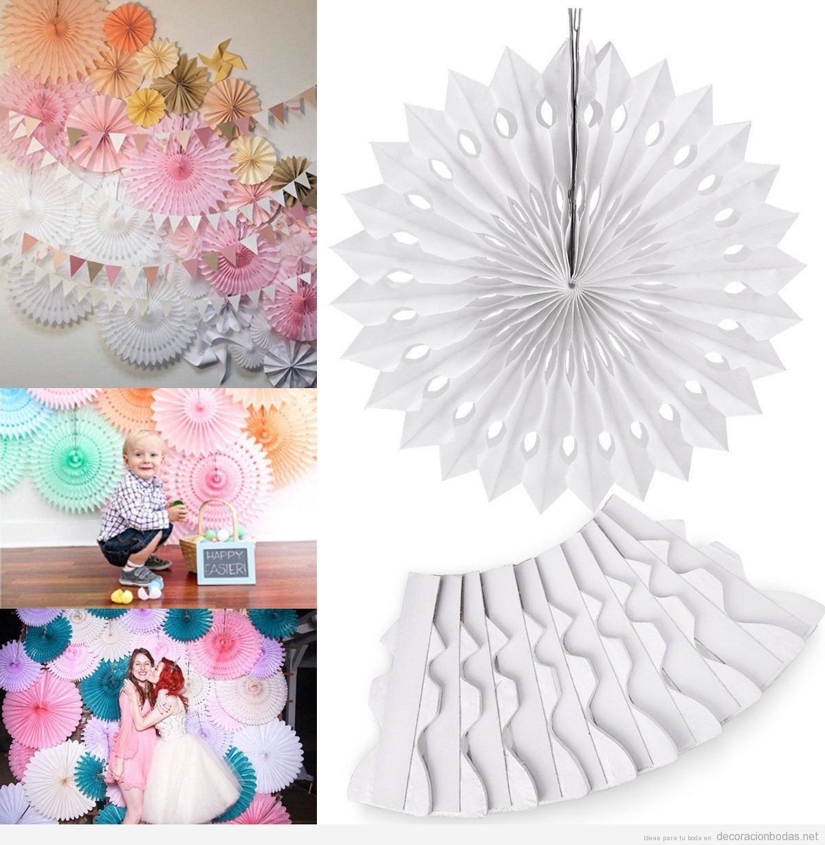 Abanicos o rosetas papel decorar boda comprar online mi for Decorar online