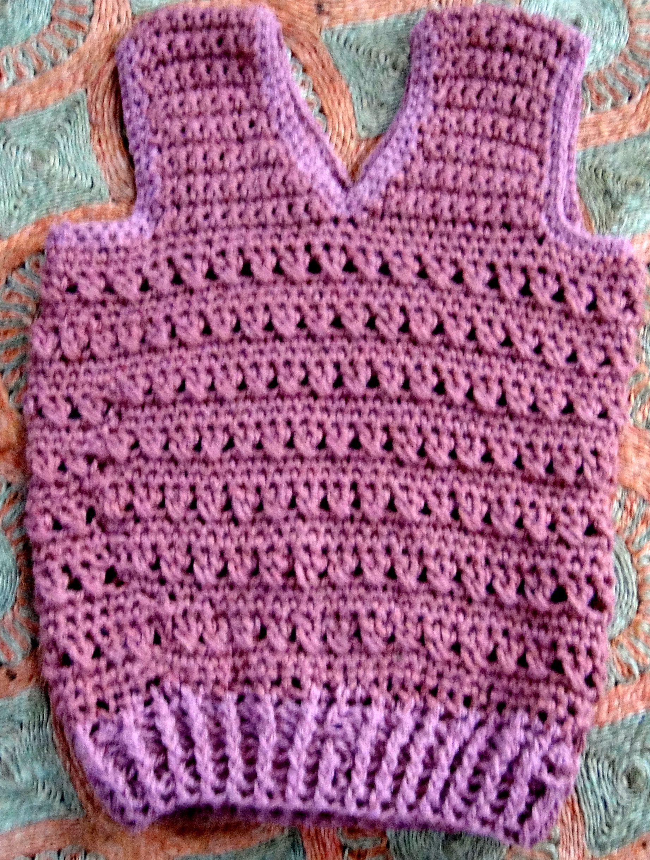 Chaleco de lana tejido en crochet punto el stico medio - Puntos de lana ...