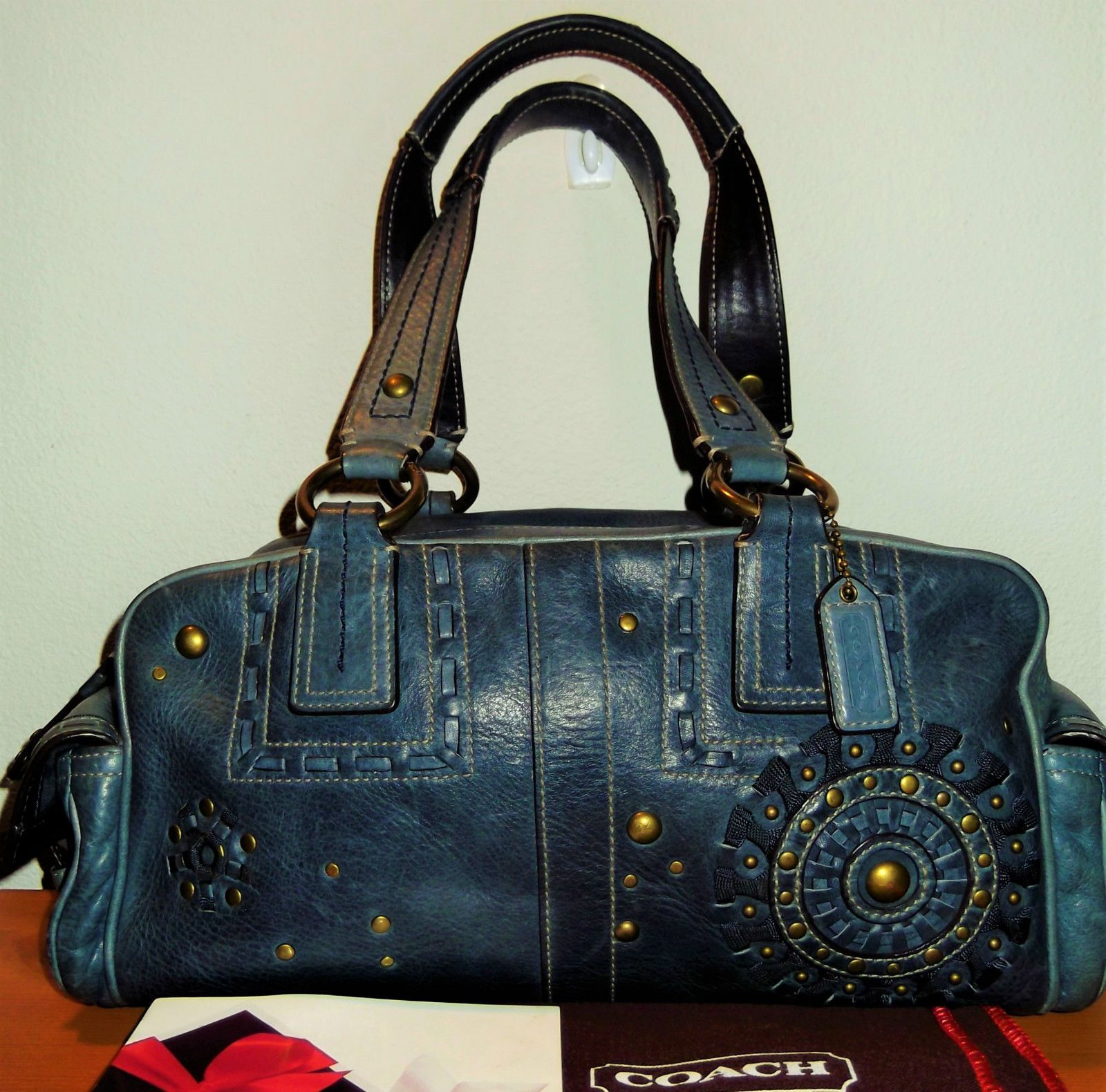Large Coach Studded Leather Handbag Satchel Shoulderbag In Blue Vguc 10064 Ebay