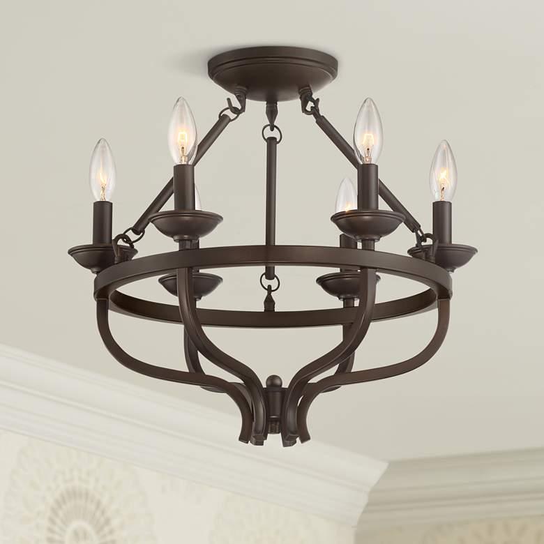 Adari 17 3 4 Wide Oil Rubbed Bronze Ceiling Light 70d95 Lamps Plus In 2020 Bronze Ceiling Lights Ceiling Lights Semi Flush Ceiling Lights