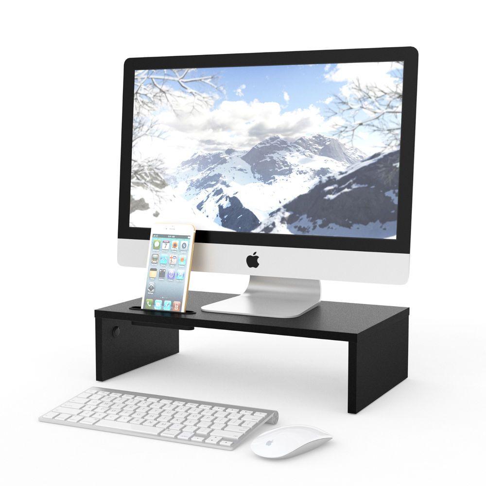TV Monitor Stand Riser Computer Laptop Shelf Desk Table Storage Organizer Black