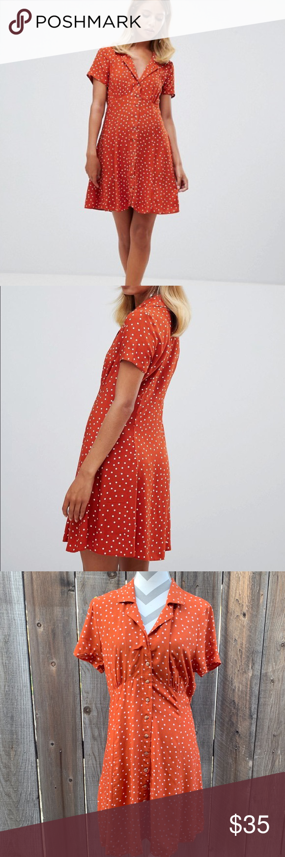 e96c166a ASOS | button down polka dot mini skater dress Brand new without tags US  size 12 Burnt orange with white polka dots button down skater dress No  flaws!