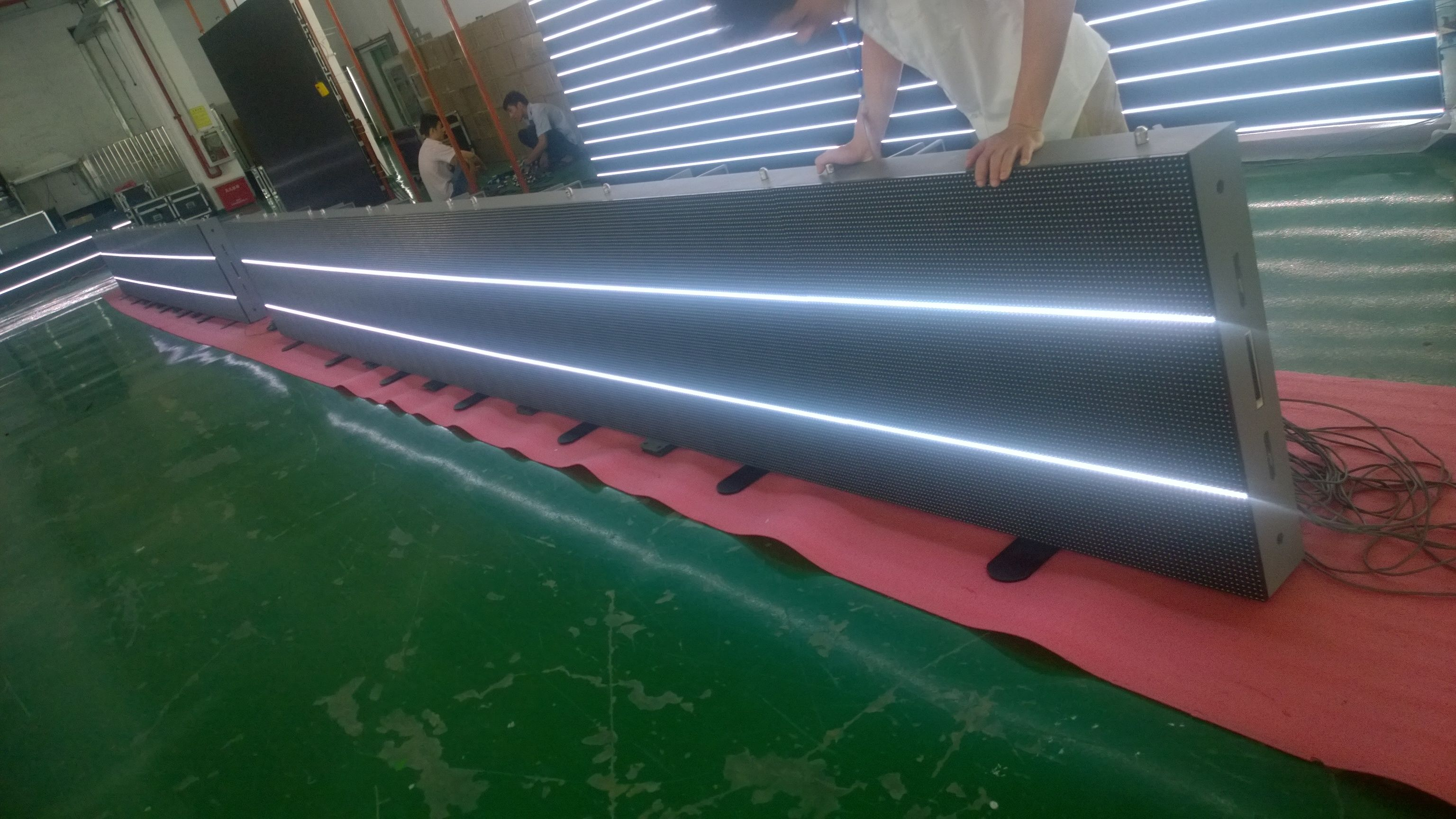 led scrolling sign aging test in factory