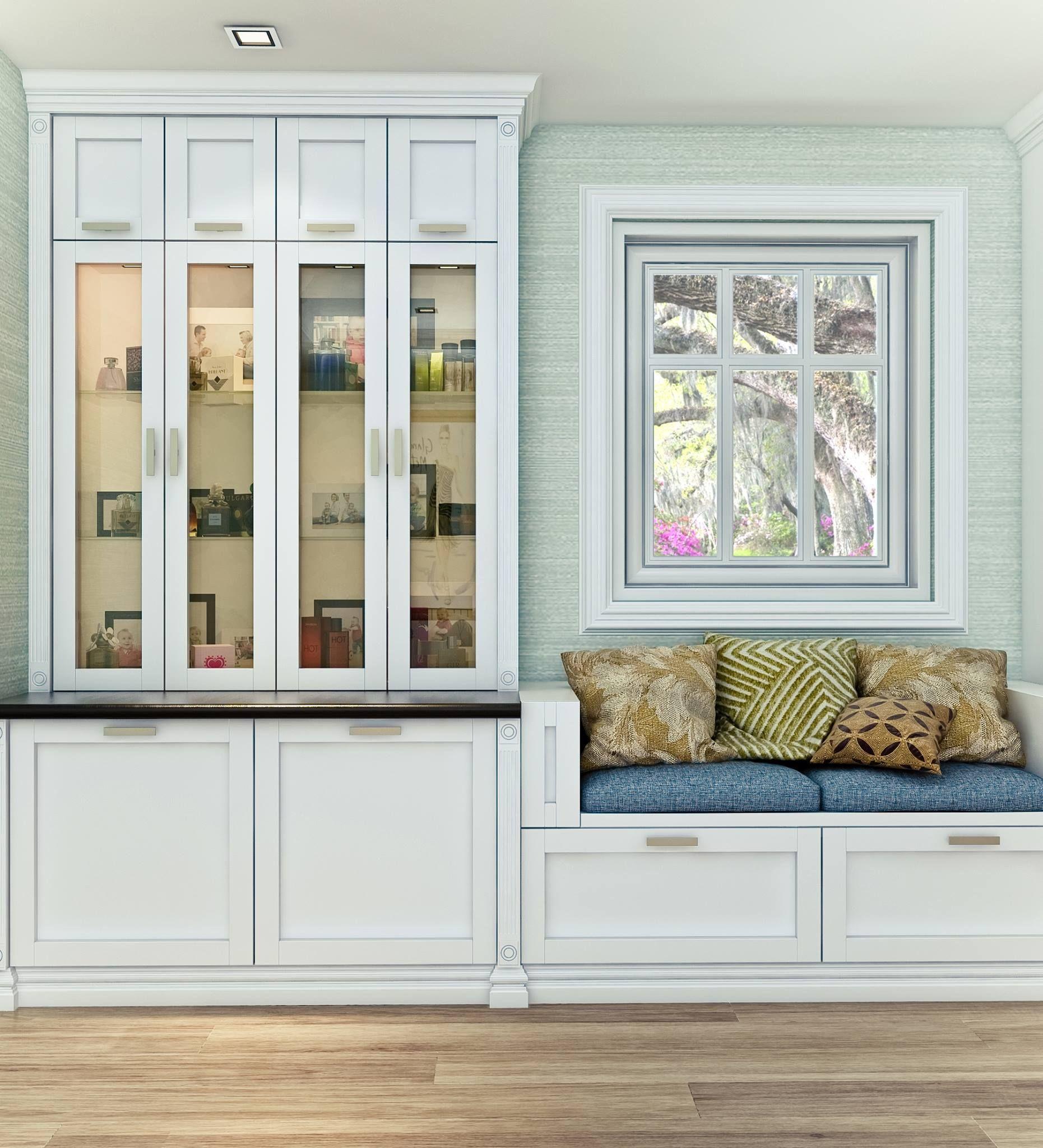 A minimalist Shaker-style wall unit featuring smoked glass cabinet ...
