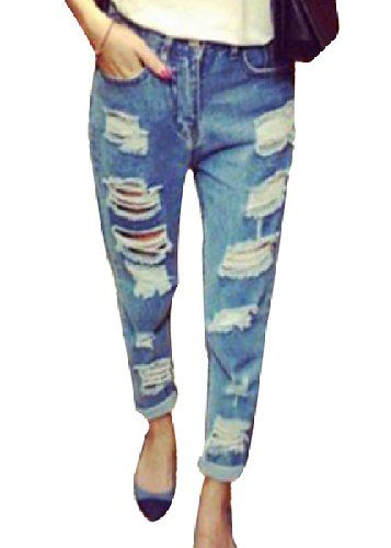 069af3f4179 Women s Ripped Jeans Blue White Trousers Retro denim Cat Scratch Hole Loose  Pants