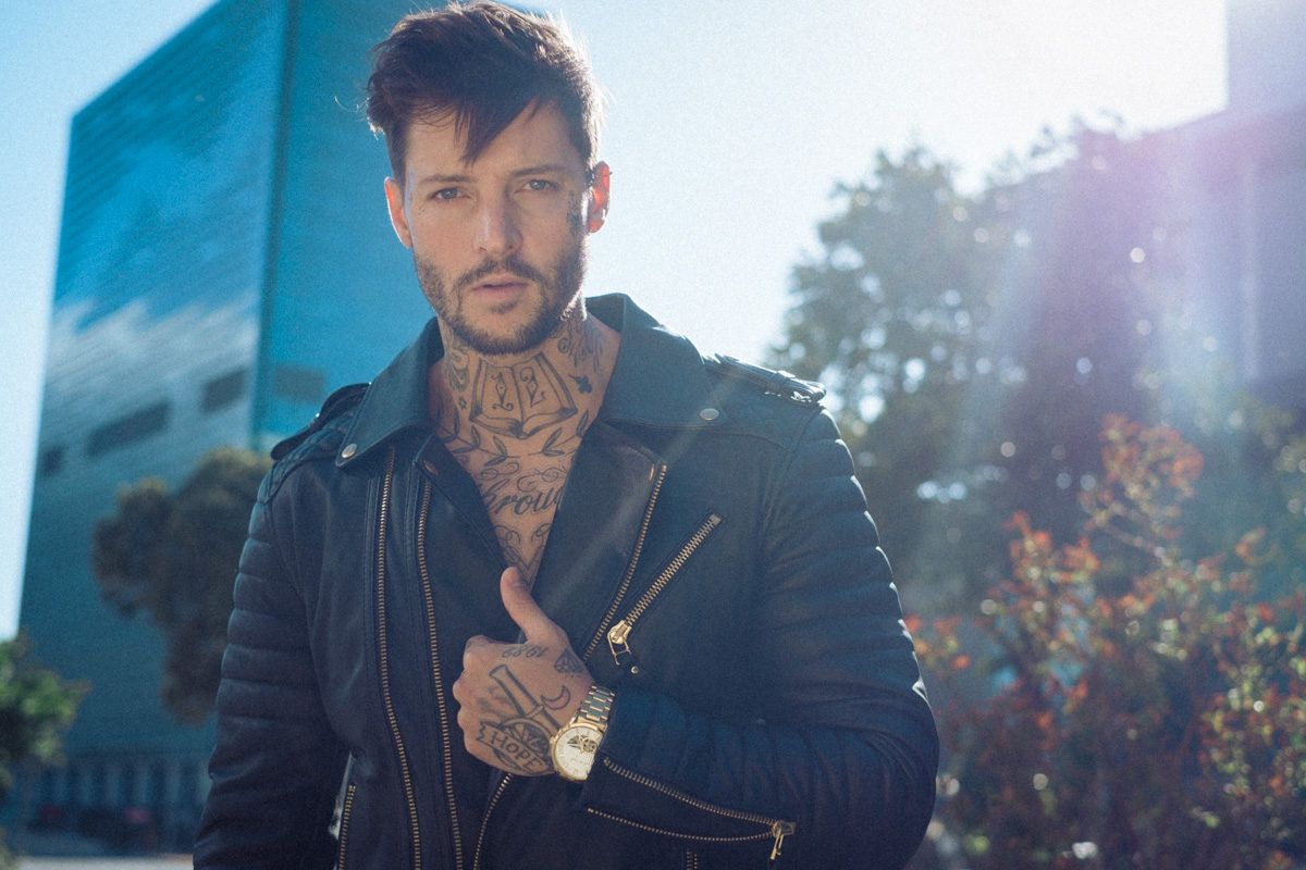 Leather jacket cape town - The Famous South African Tattoo Model Shane Burnell Posing In Boda Skins Leather Jacket