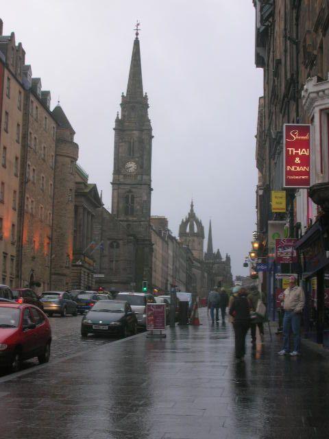 It's a rainy evening, walking along main street in Edingburgh, Scotland, May 2009.