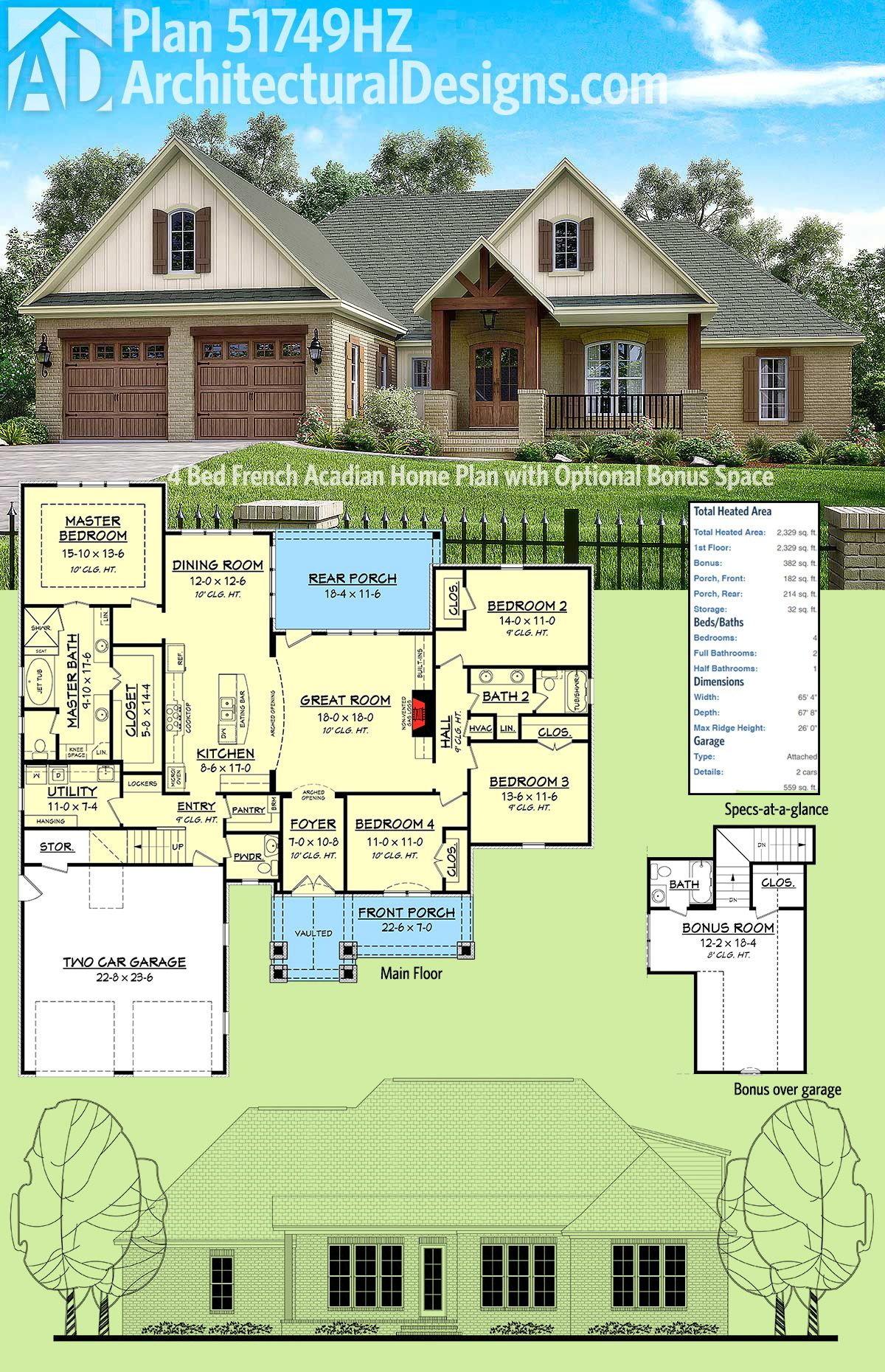 Plan 51749HZ: Four Bed French Acadian Home Plan with Optional Bonus on french acadian style house plans, french country house plans mississippi, french acadian house plans with porch,