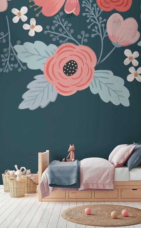 Rosa Blue Floral Wall Mural Kids Room Murals Playroom Mural