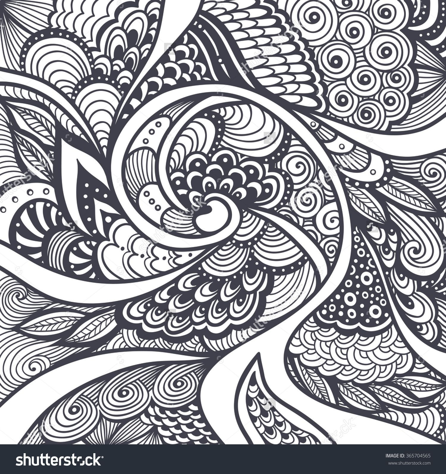 Abstract Pattern Or Texture In Zen Tangle Zen Doodle Style Black