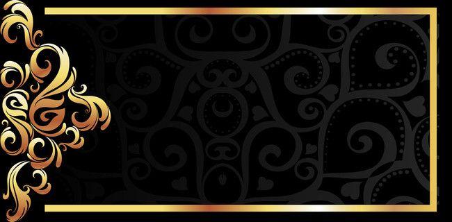 Vector Gold Frame On Black Background Material Pattern Banner Background Images Graphic Design Background Templates Gold Frame