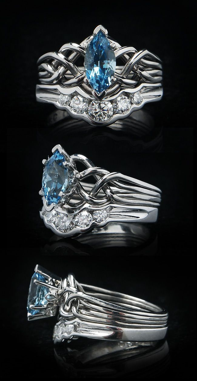 Marquise Aquamarine Puzzle Ring With Diamond Shadow Band