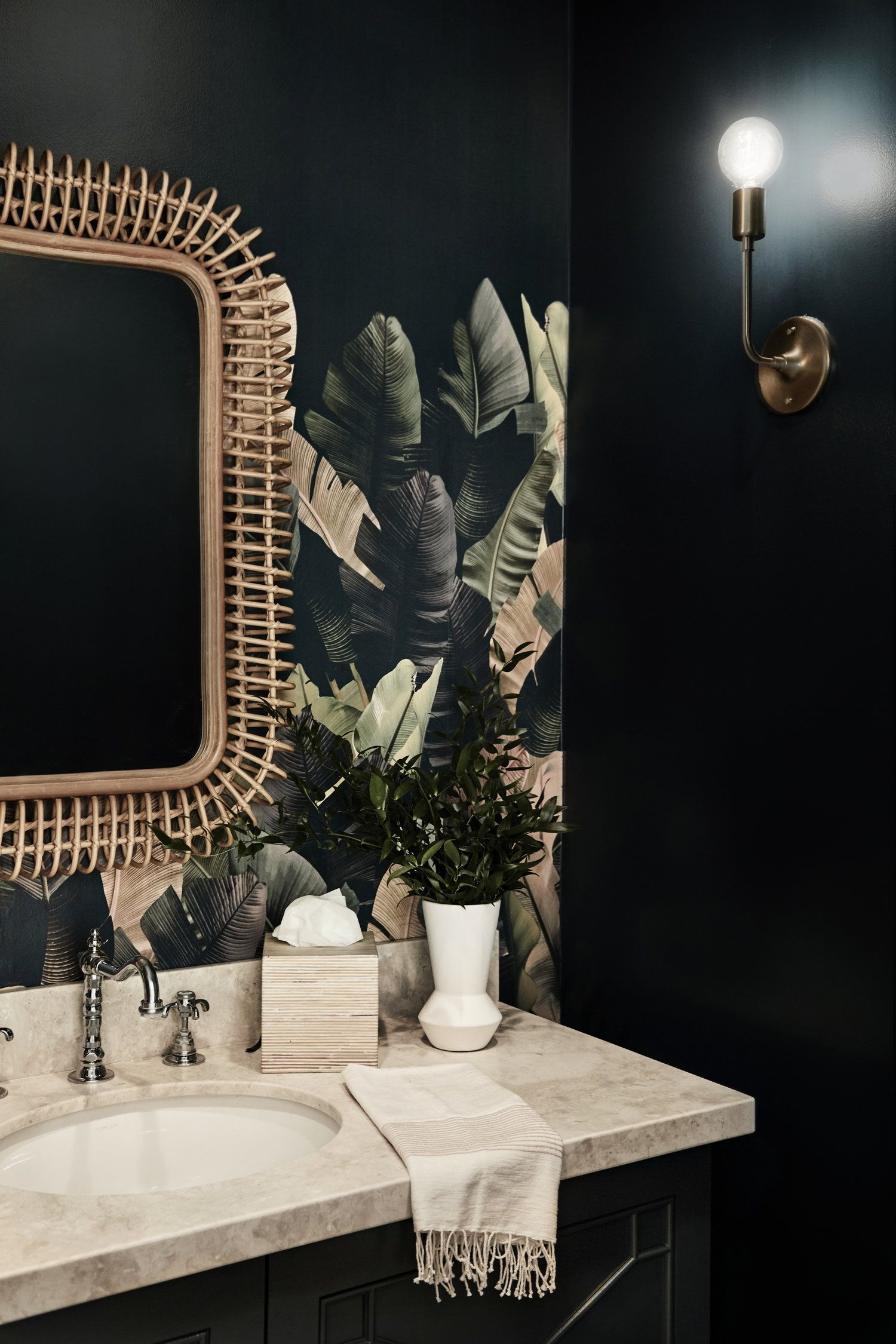 Liz Foster Interiors Wallpapered Powder Room Tropical Home