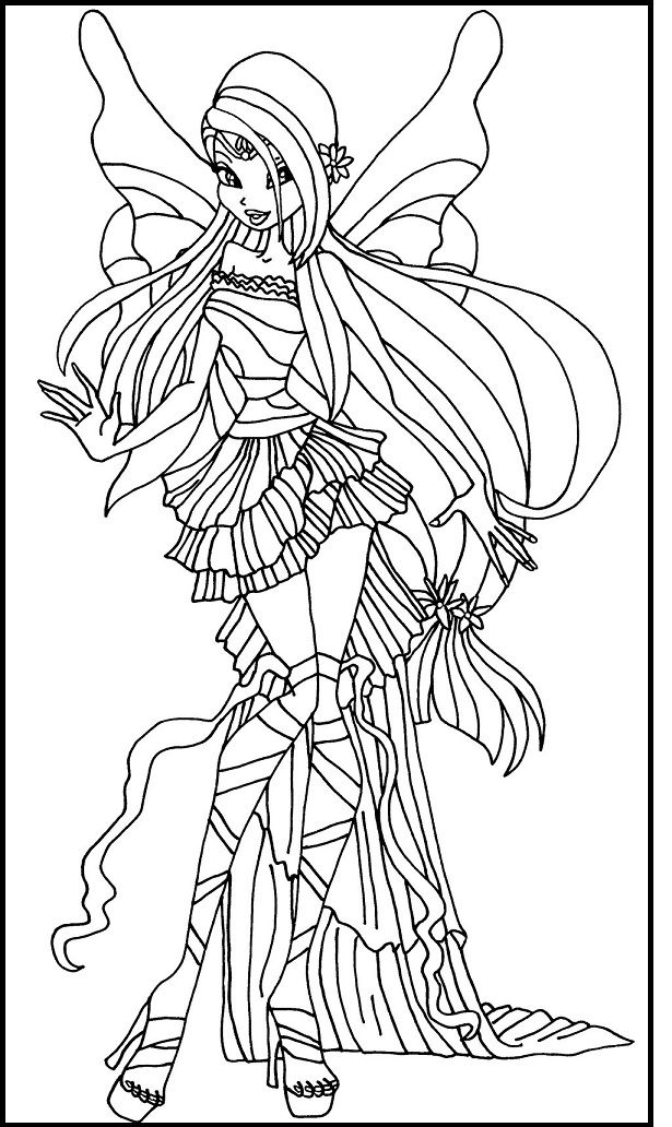 Winx Club Harmonix Musa Coloring Picture For Kids