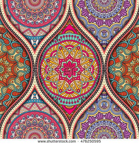 Seamless pattern tile with mandalas. Vintage decorative ...