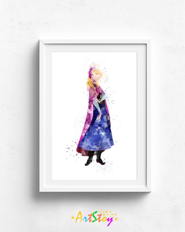 300 disney princess anna frozen anna disney print 300 disney princess anna frozen anna disney print watercolor print buycottarizona