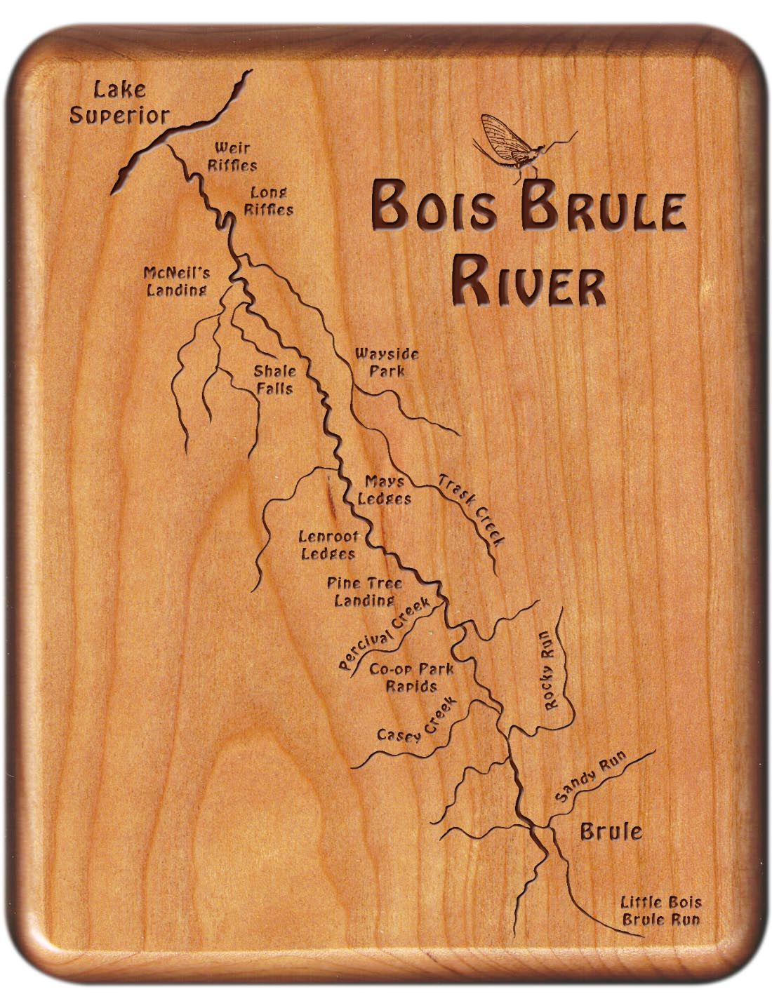 Bois Brule River Wisconsin Cherry Wood Fly Fishing River Map