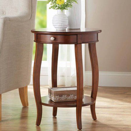 Accent Round End Table With Drawer Lamp Side Nightstand Sofa Chair
