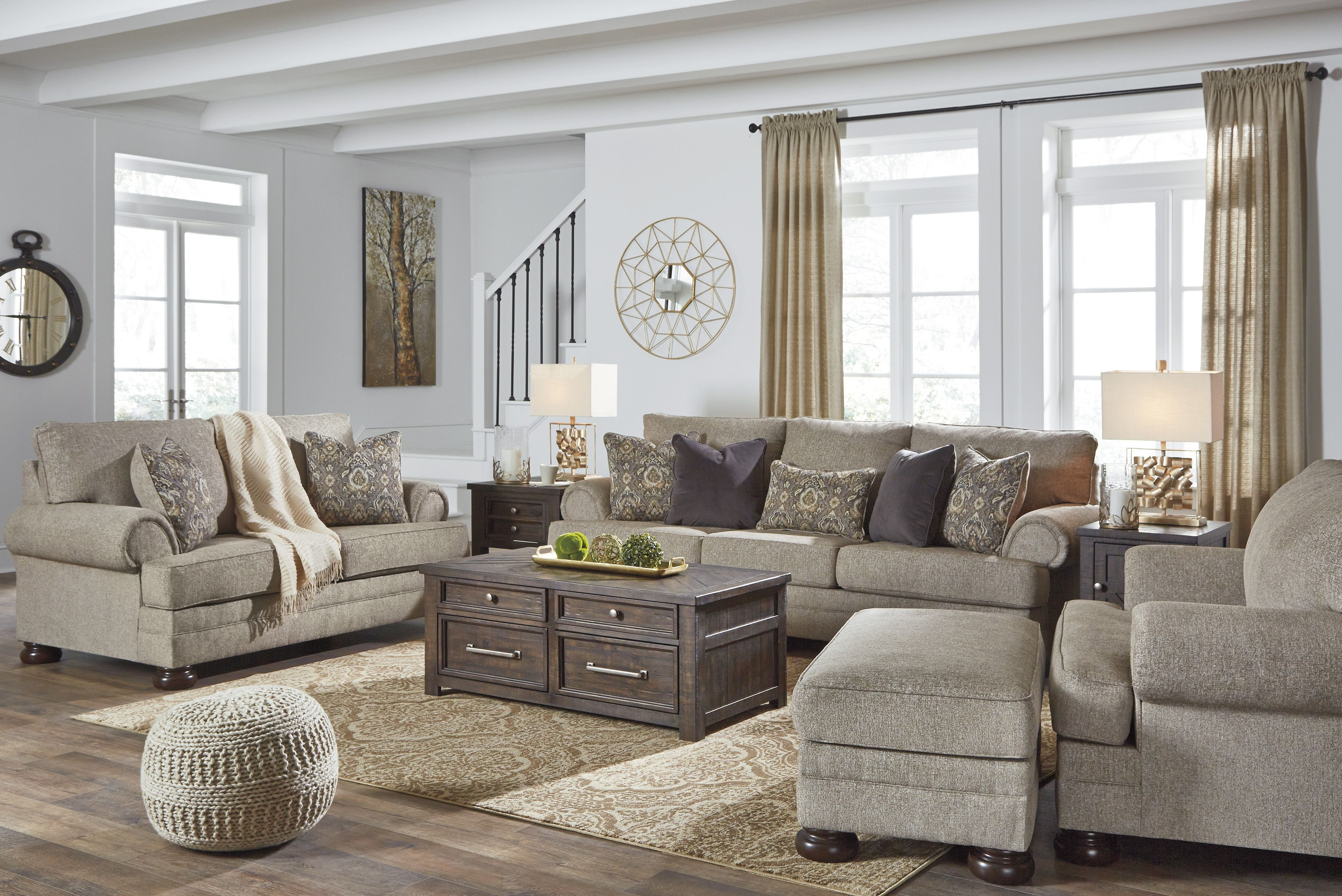 Sink Into Comfort With The Kananwood Collection With More Than 103 Inches Of Stretch O Living Room Sets Elegant Living Room Decor Pallet Furniture Living Room #oatmeal #sofa #living #room #ideas