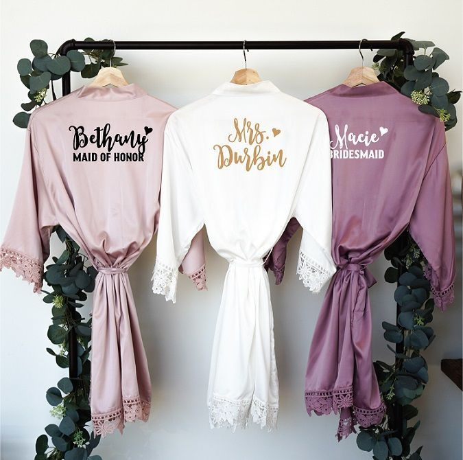 Bridesmaid Robes, Lace Bridal Robe, Bride Robe, Bridal Party Robes, Bridesmaid Gifts, Satin Robe, Plus Size, Rose Blush Pink (RB1)