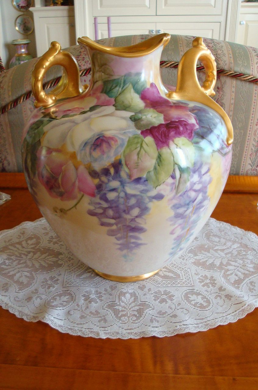American belleek lenox marked gorgeous vase ornate handlesroses american belleek lenox marked gorgeous vase ornate handlesroses from theverybest on ruby floridaeventfo Image collections