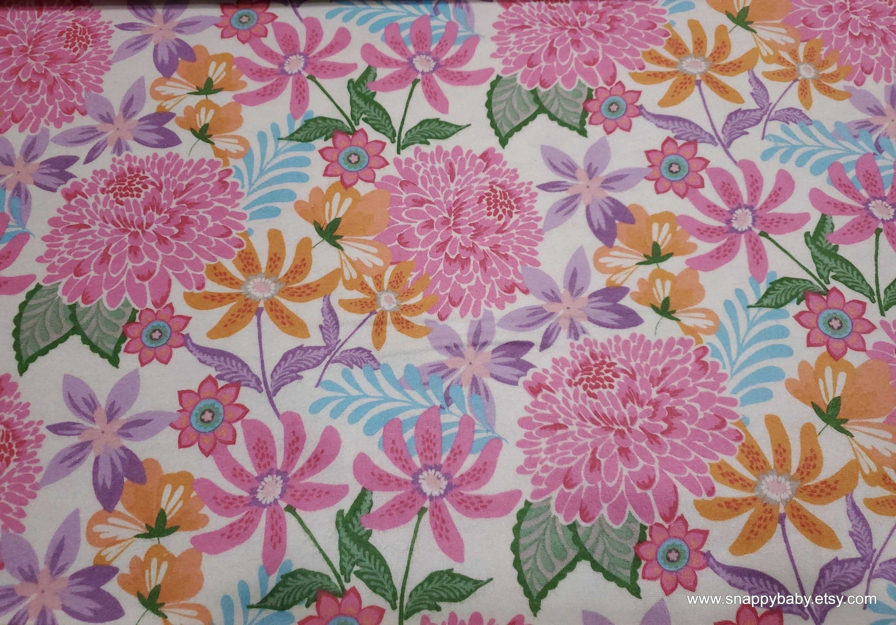 Flannel Fabric Full Bloom Floral By The Yard 100 Cotton Flannel Fabric Floral Flannel