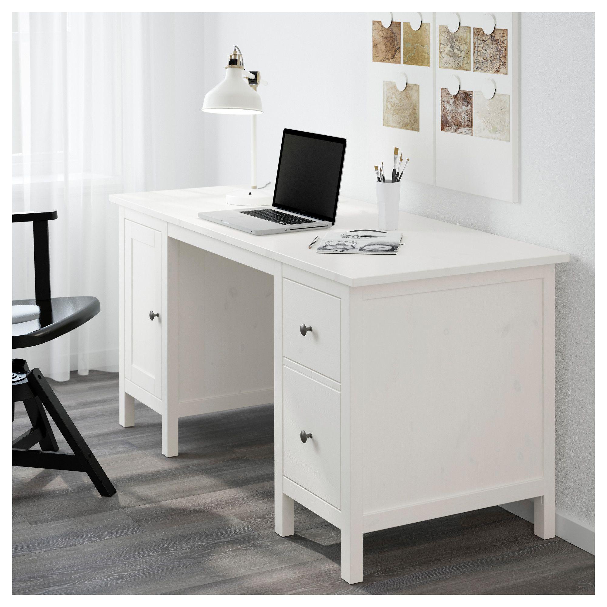HEMNES Desk White stain IKEA White desks, Ikea hemnes