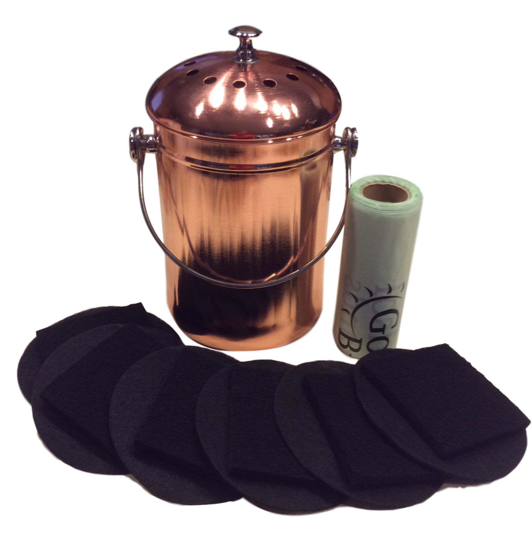 Nice Kitchen Compost Bin Copper Coated Stainless Steel Pail Supplied With Compost  Filters And Bags