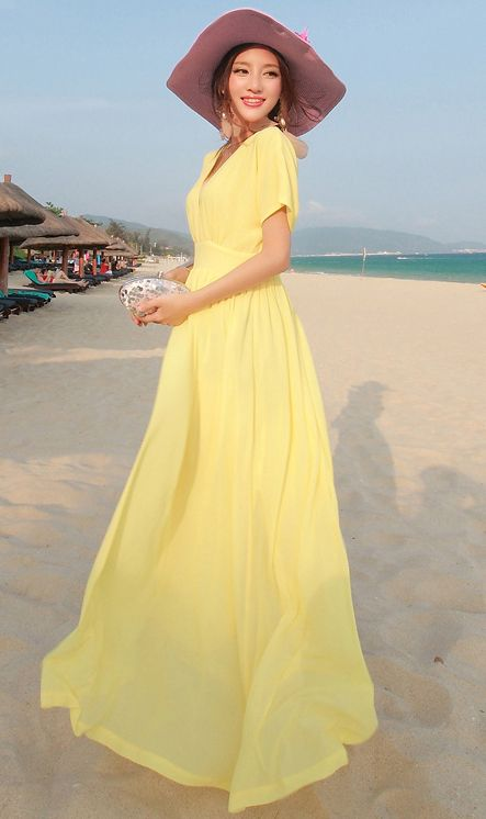 9ff823d0e0 Cute Cheap V neck batwing beach dress yellow - Beach Dresses Online Shopping  Free Shipping 36889880732