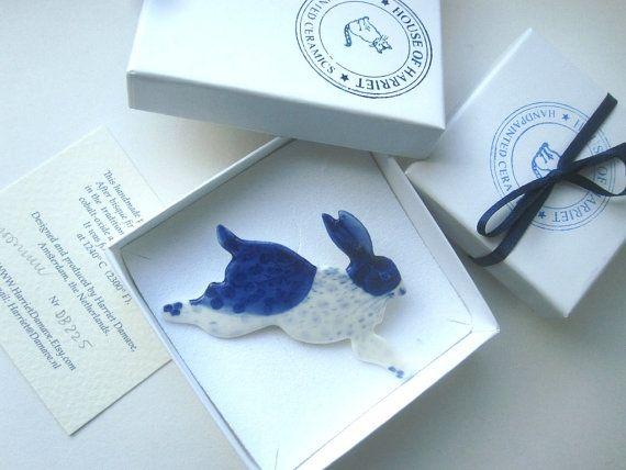 Rabbit Brooch Handpainted Blue Delftware by Harrietsblueandwhite