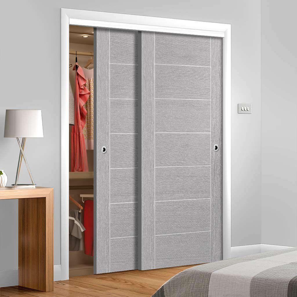Thruslide Palermo Light Grey Flush 2 Door Wardrobe And Frame Kit Prefinished Lifestyle Image Gr Wardrobe Doors Sliding Wardrobe Doors Sliding Wardrobe