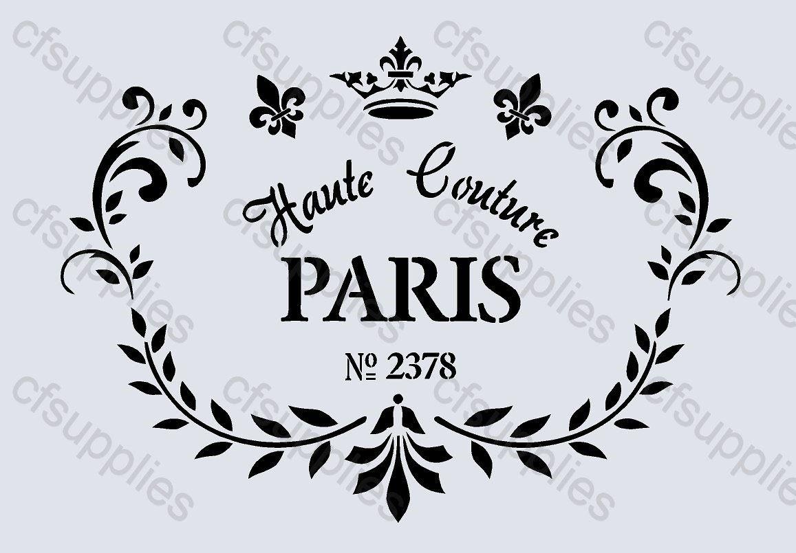 pochoir a4 shabby chic fran ais mobilier tissu verre mylar r utilisable 59 paris. Black Bedroom Furniture Sets. Home Design Ideas