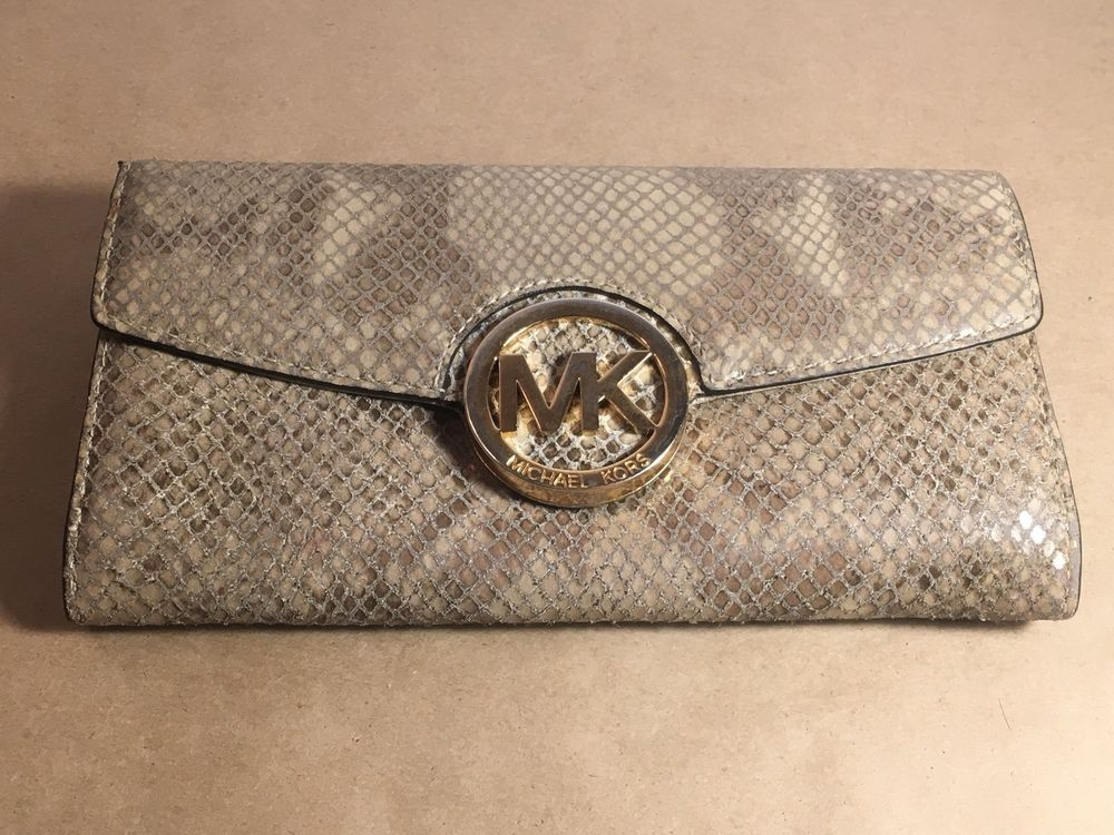 a7234995af1a Michael Kors Fulton Leather Carryall Wallet Snakeskin - Beige  fashion   clothing  shoes  accessories  womensaccessories  wallets (ebay link)