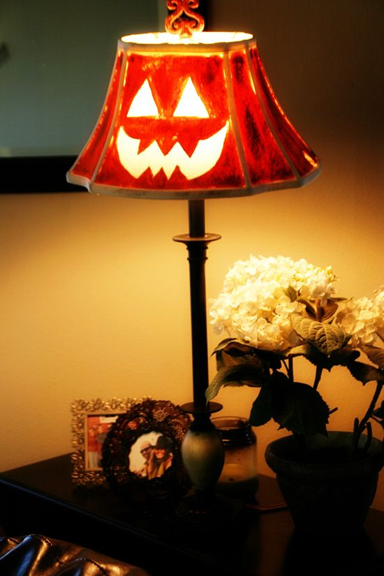 Diy jack o lamptutorial with picturesnt throw out that then take some acrylic paint paint over the lampshade except the face and there you go a great lampshade for the halloween aloadofball Images