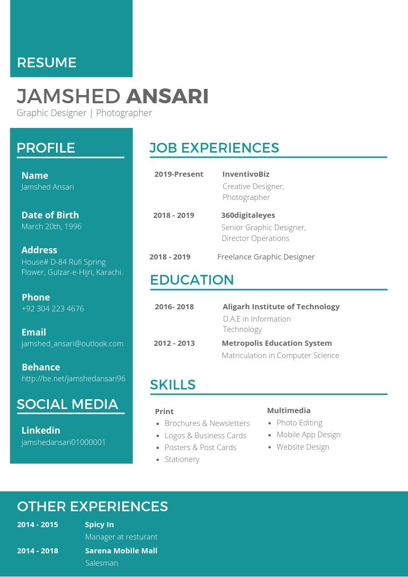 Graphic Design Resume Graphic design resume, Resume