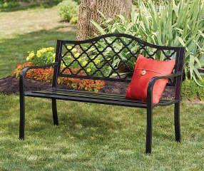 Wilson Fisher Black Wyndham Gate Pattern Garden Bench With