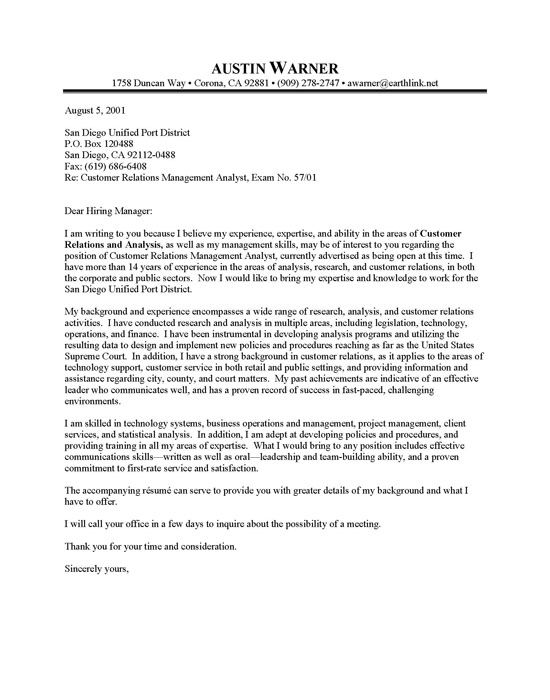 Professional Resume Cover Letter Sample City Manager Cover - analyst job description