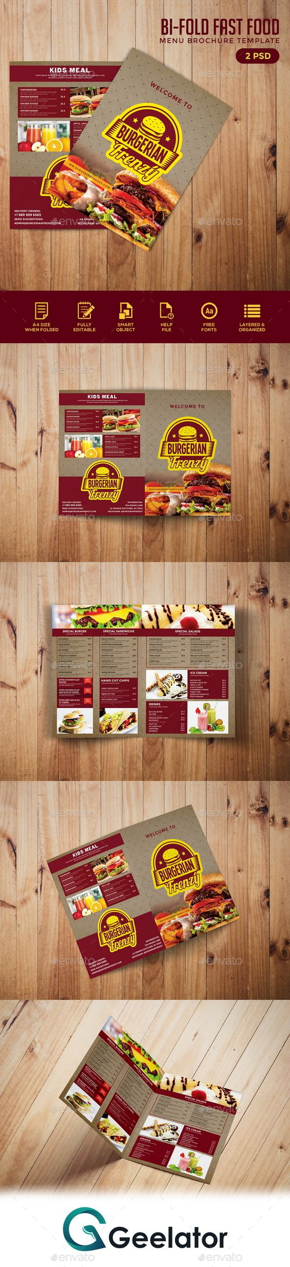 Bifold Fast Food Menu Brochure Template  Food Menu Brochure