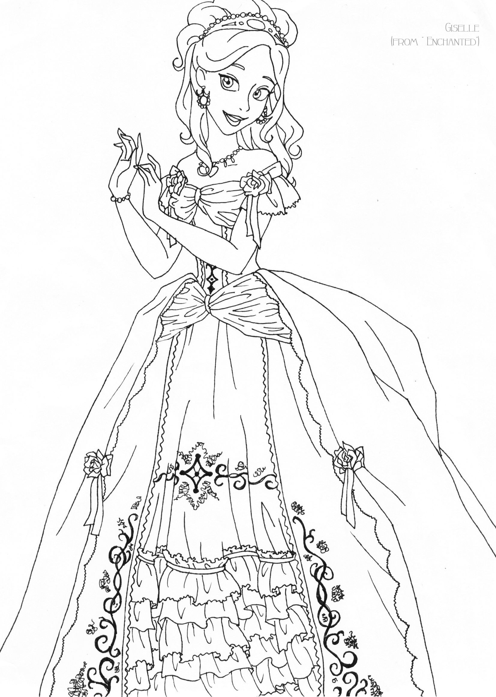 Giselle deluxe gown lineart by LadyAmber.deviantart.com on ...